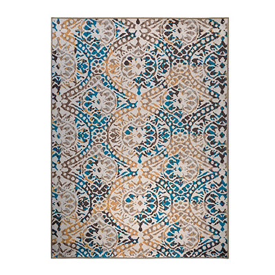 Aqua and Yellow Monaco Area Rug, 5x7