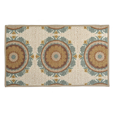Aqua and Tan Suzani Monaco Scatter Rug