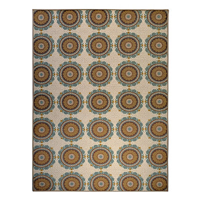 Aqua and Tan Suzani Monaco Area Rug, 5x7