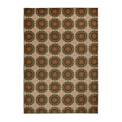 Aqua and Tan Suzani Monaco Area Rug, 7x9