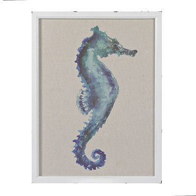 Linen Watercolor Seahorse Framed Art Print