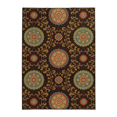Brown Medallion Antioch Area Rug, 7x9