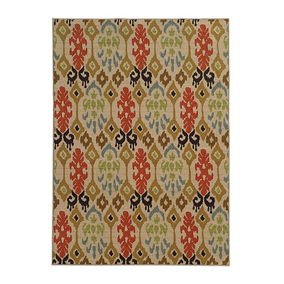 Abstract Ikat Antioch Area Rug, 7x9