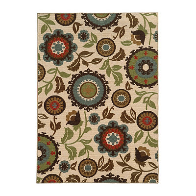 Abstract Floral Antioch Area Rug, 7x9