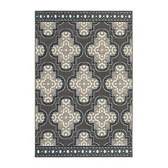 Gray Medallion Trim Walker Area Rug, 7x10