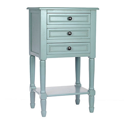 Antique Ice Blue 3-Drawer Accent Table