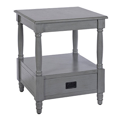 Gray Spindled 1-Drawer End Table