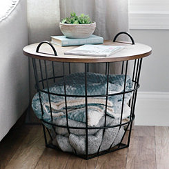 Industrial Wire and Wood Basket Side Table