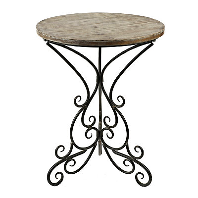Natural Round Metal Scroll Side Table
