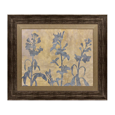 Blue Floral Silhouette Framed Art Print
