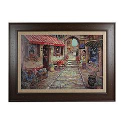 Red Awning Street Scene Framed Art Print