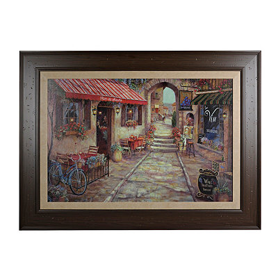 Red Awning Street Scene Framed Art Print