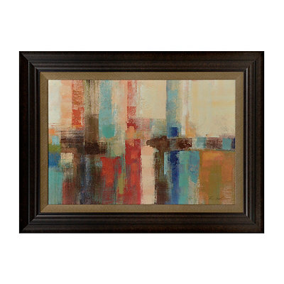 Turquiose and Red Abstract Framed Art Print