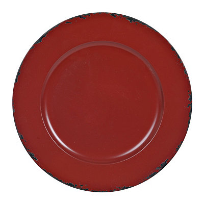 Distressed Red Round Ella Charger