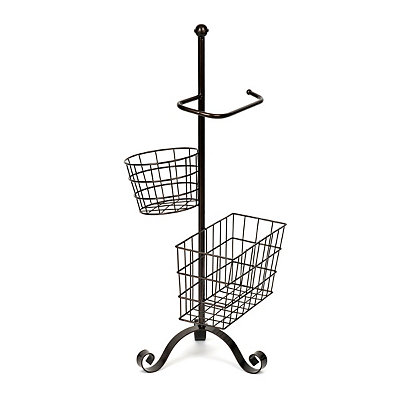 Bronze Toilet Paper Holder with Baskets