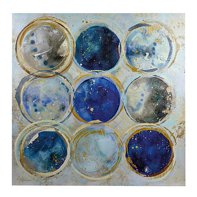 Blue and Gold Circles Canvas Art Print