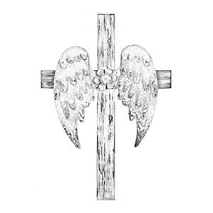 Distressed White Angel Wing Wooden Cross