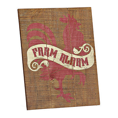 Farm Alarm Rooster Wood Plank Plaque