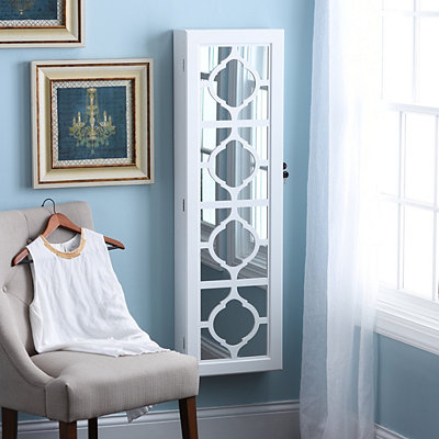 White Trellis Jewelry Armoire Mirror