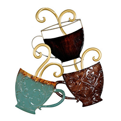 Stacked Coffee Mugs Metal Plaque