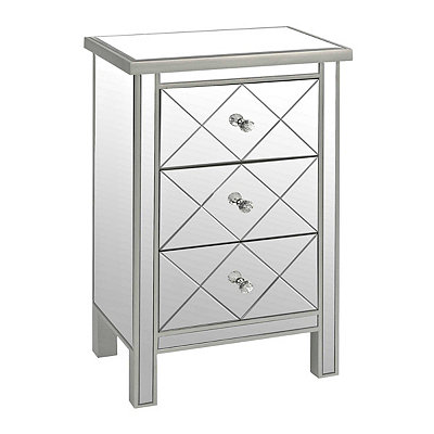 Diamond 3-Drawer Mirrored Chest