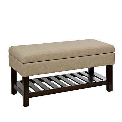 Tan Upholstered Storage Bench