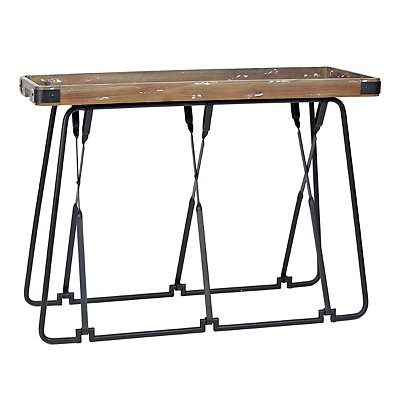 Folding Industrial Tray Console Table