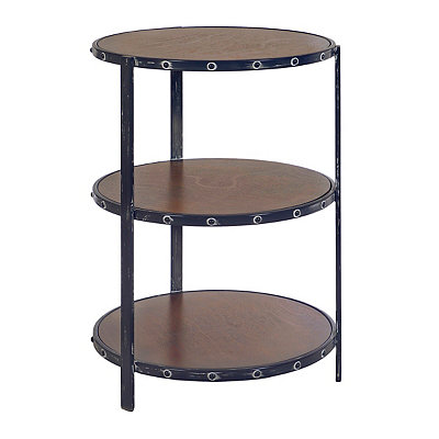 Wood and Metal 3-Tier Side Table