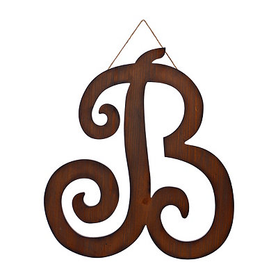 Brown Woodtone Monogram B Plaque