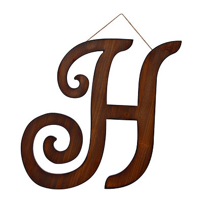 Brown Woodtone Monogram H Plaque