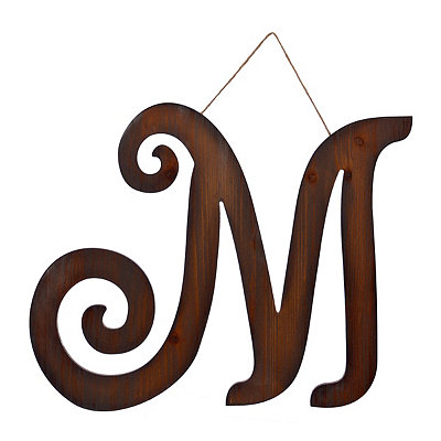 Brown Woodtone Monogram M Plaque