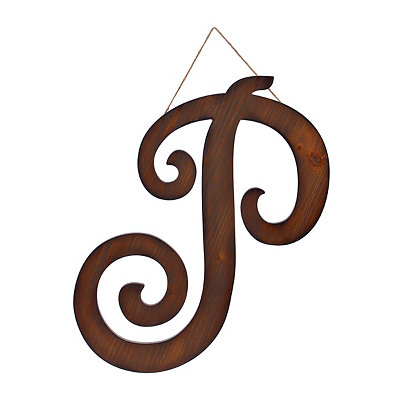 Brown Woodtone Monogram P Plaque