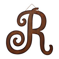 Brown Woodtone Monogram R Plaque