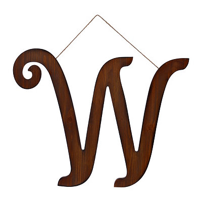 Brown Woodtone Monogram W Plaque