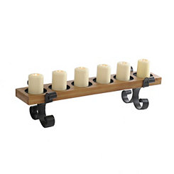 Wood and Metal Scroll Pillar Candle Runner