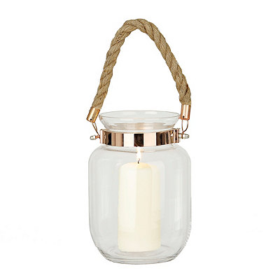 Glass Lantern with Copper and Rope
