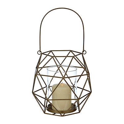 Dark Gold Geometric Metal Lantern