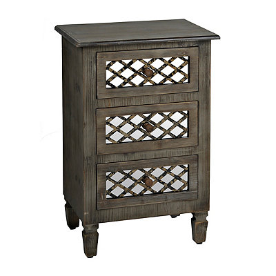 Rustic Veneer Mirrored 3-Drawer Chest