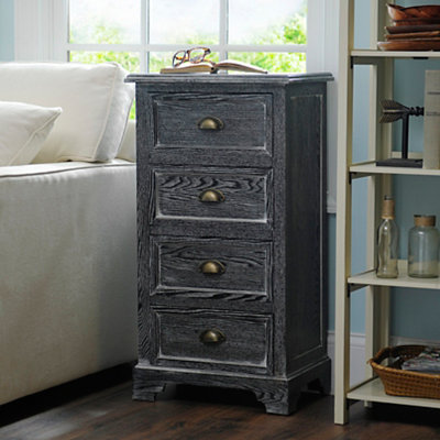 Black Wash 4-Drawer Storage Chest