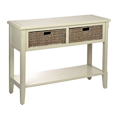 Ivory 2-Drawer Storage Console Table with Baskets