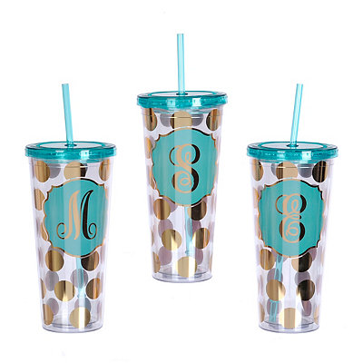 Gold Polka Dot Monogram Tumbler