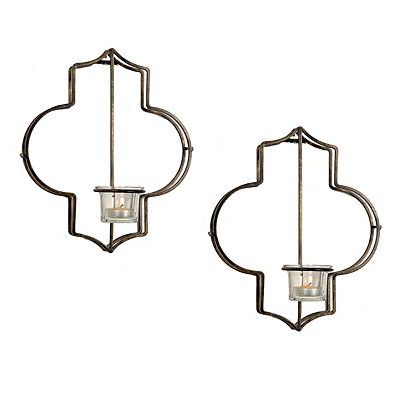 Mia Quatrefoil Votive Sconces, Set of 2