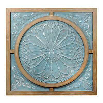 Blue Metal and Wood Medallion Wall Plaque