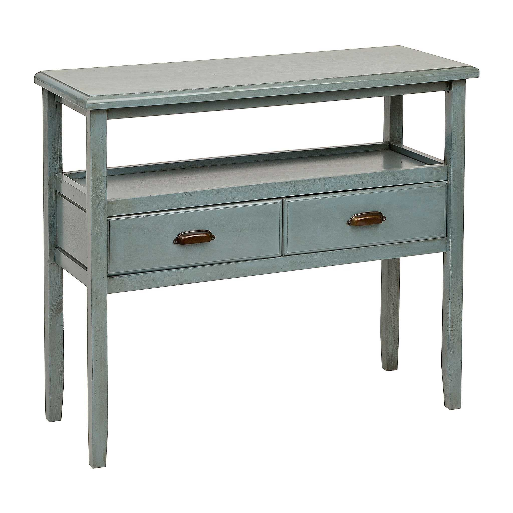 Blue 2 tier console table kirklands for Sofa table kirklands