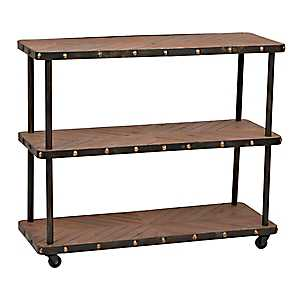 Industrial 3-Tier Wood and Metal Shelf