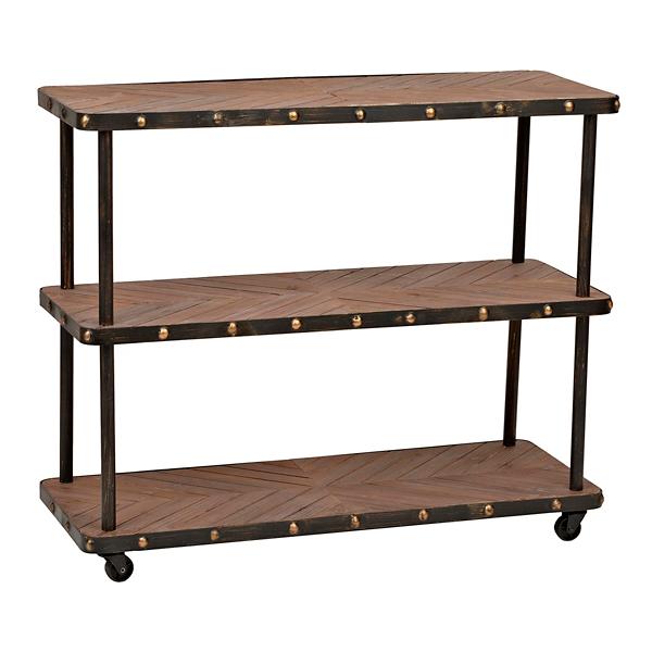 industrial 3tier wood and metal shelf