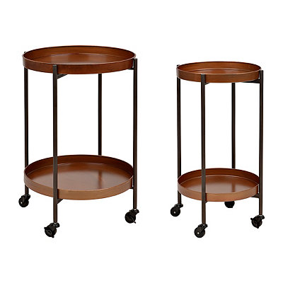 Wheeled Caramel Metal Side Tables, Set of 2