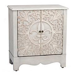 Distressed Ivory Fleur-de-Lis Cabinet