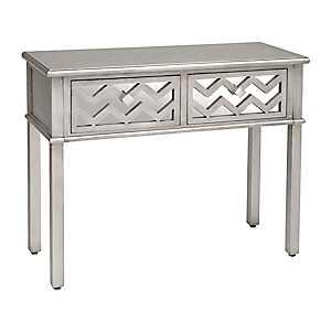 Silver Mirrored Chevron Wooden Console Table