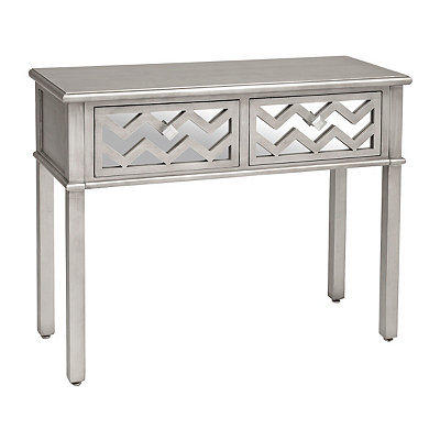 Silver Mirrored Chevron Wooden Console Table